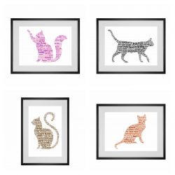 Cat word art print