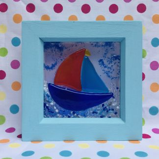 handpainted wooden box frame featuring fused glass sail boat