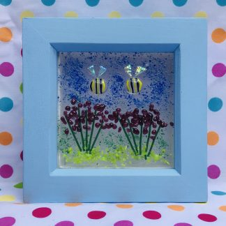 Handpainted wooden box frame busy bees on blossom fused glass