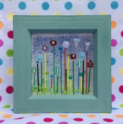 Handpainted wooden box frame with fantasy lollipop garden