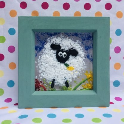 Hand Painted box frame featuring a fused glass sheep