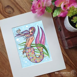 Tattooed Mermaid limited edition giclee print by Mel Langton Art