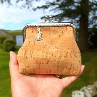 Natural Cork Leather Clasp Purse