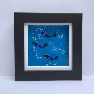Fused Glass Ocean Spray small box frame with dichroic multicoloured fish