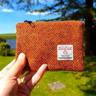 Orange and Browns Harris Tweed Coin Purse