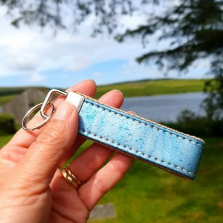 Pearlescent Blue Cork Leather Keyring