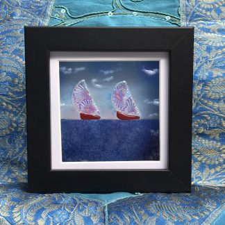 Fused Glass Black Box frame with two sailings boats.