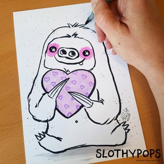 Mel Langton Art's Slothypops the sloth personalised bespoke custom sloth artwork.