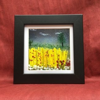 Fused Glass Cornfield with red poppies