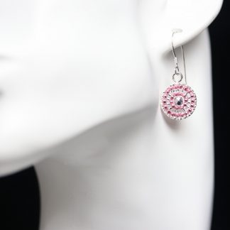 Beaded Earrings in Pink and Silver