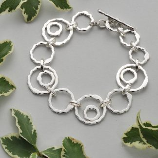 Handmade Chunky Sterling Silver Circle Chain link Bracelet Made By Fee