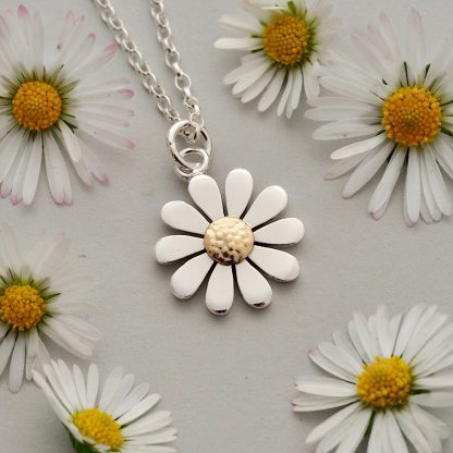 Dainty sterling silver and 18ct yellow gold daisy pendant necklace - Made By Fee - handmade and hallmarked