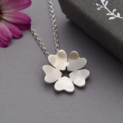 Handmade Sterling silver mallow flower pendant necklace 2cm diameter - unique jewellery for women Made By Fee
