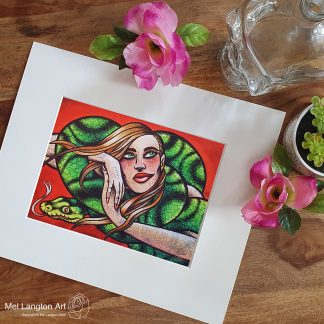 The Snake limited edition giclee tattoo art print by Mel Langton Art