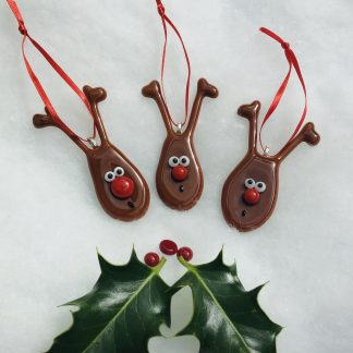 Three fused glass brown reindeer with red noses
