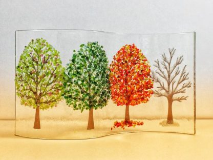 Fused glass wave with four seasons trees