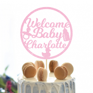 New Baby Cake Topper - Baby Pink