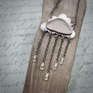 Willow & Twigg Sea Glass Moonstone Raincloud Pendant Necklace