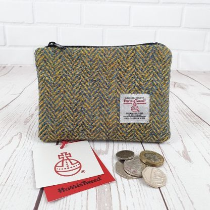 Harris Tweed Coin Purse Blue and Yellow