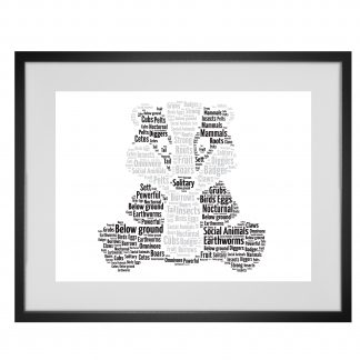 badger word art print