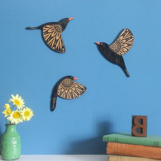 flying wall blackbirds wooden painted etchablelaserdesign