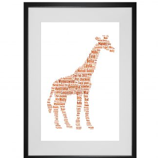 giraffe word art print