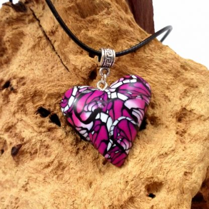 colourful abstract heart necklace