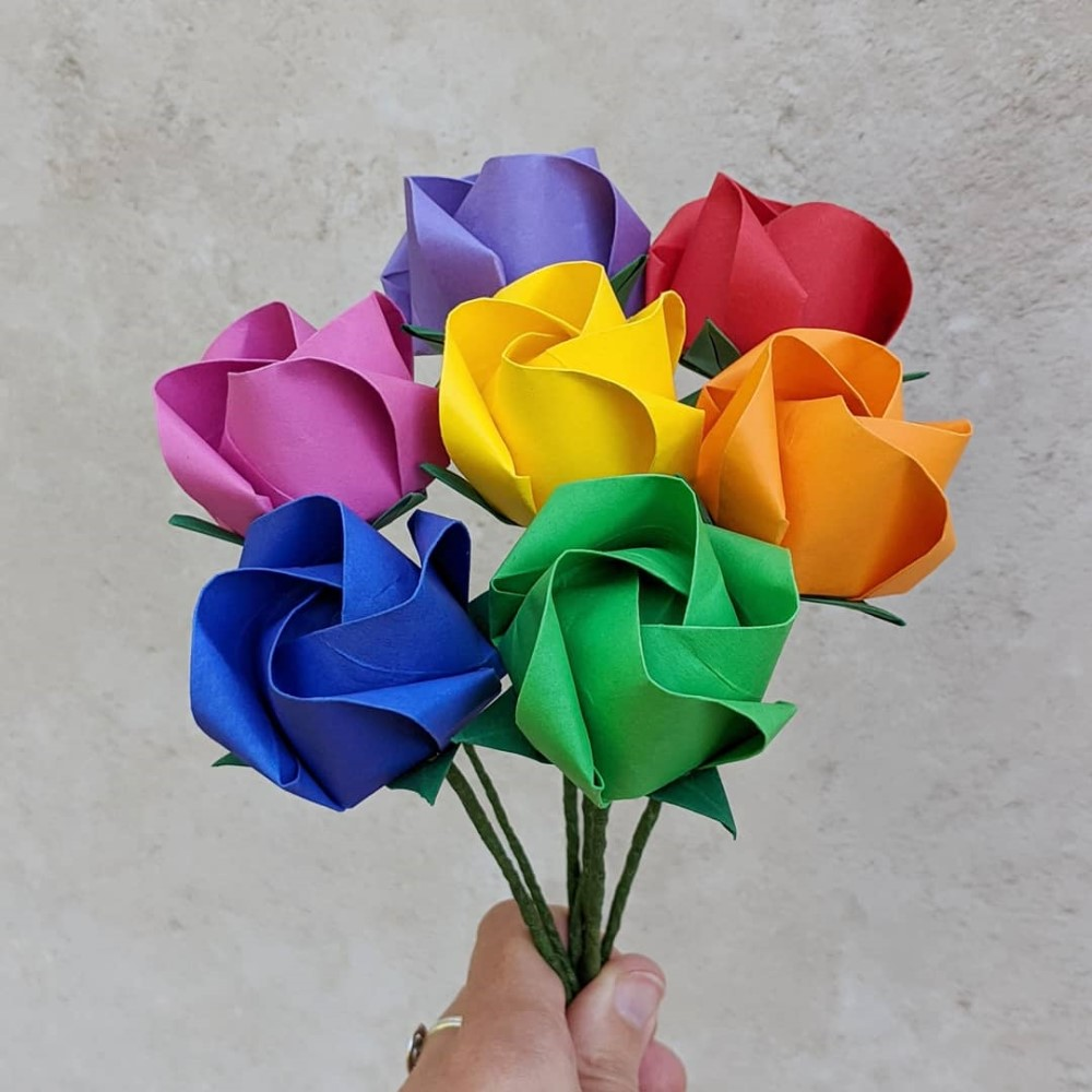 Paper Flower - How To Make A Jewelry Origami Rose | 1000x1000