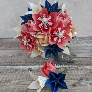 origami bridal bouquet and buttonhole set