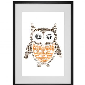 Owl word art print