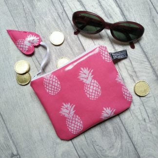 pink pineapple oilcloth coin purse or small make-up bag