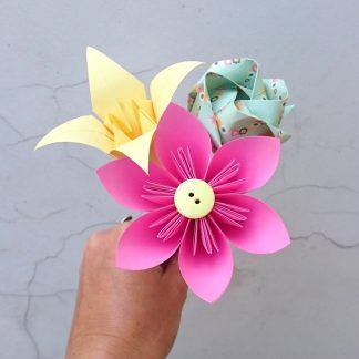 pink origami flower posy