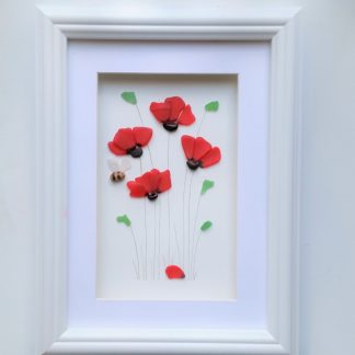 sea glass poppies and bee