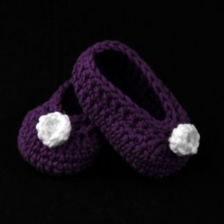Purple Crochet Baby Shoes With White Flower