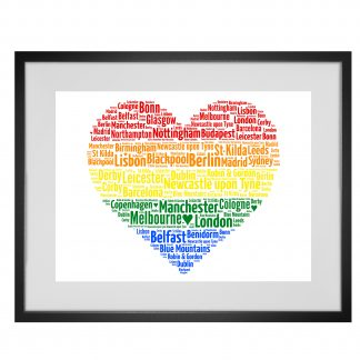Rainbow heart word art print