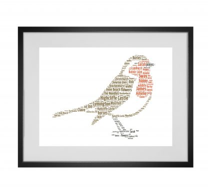 robin word art print