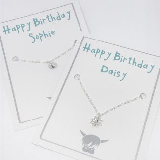 sterling silver filigree chain with personalised circle or daisy charm secured on white card personlised for the recipient
