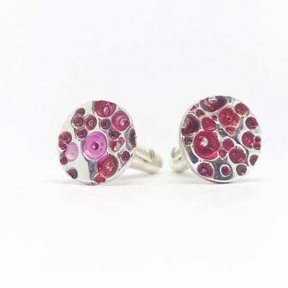 the Ticketyboo Coo rockpool cufflinks in pink and red