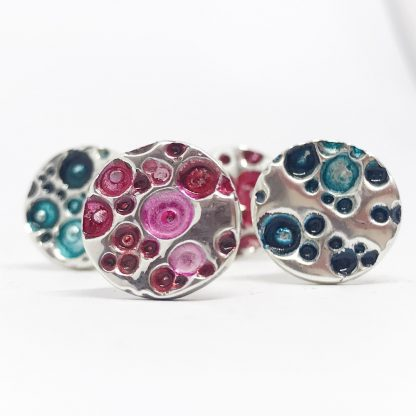 the Ticketyboo Coo rockpool cufflinks in aqua and denim blue or pink and red