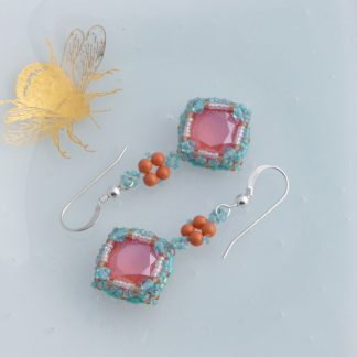 Turquoise and Coral Crystal Drop Earrings