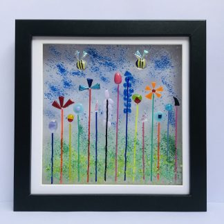 Fantasy fused glass garden with two bees