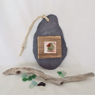 Slate with driftwood and seaglass