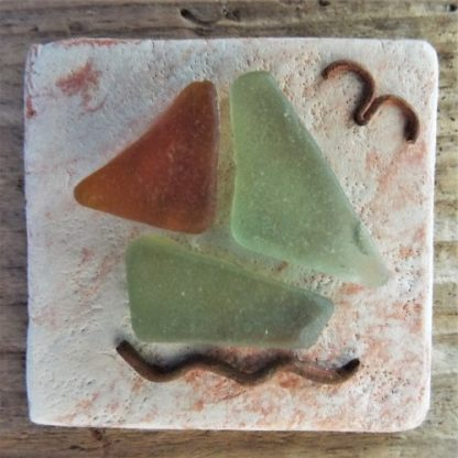 Slate with driftwood and seaglass centre tile