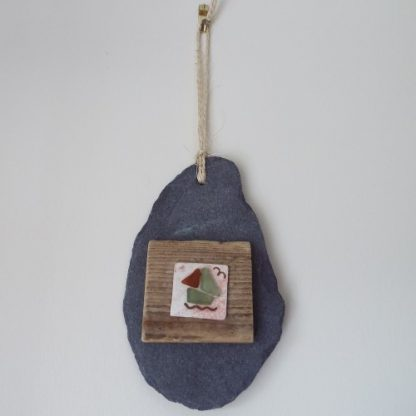 Slate with driftwood hanging