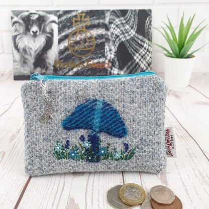 Harris Tweed embroidered purse. Grey and Blue.