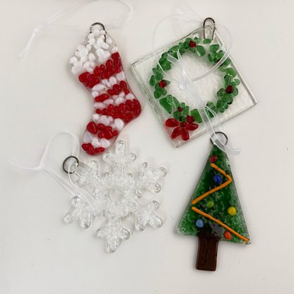 Examples of fused glass Christmas decorations