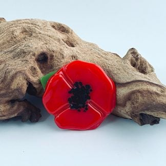 Fused glass poppy brooch