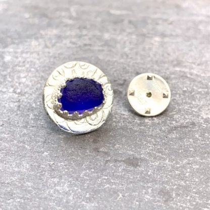 Cobalt blue and silver lapel pin
