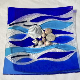 Blueand Turquoise Fued Glass Ocean Wave Platter