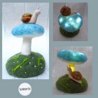 Blue toadstool with snail collage